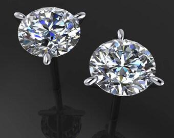 4 carat NEO moissanite earrings, colorless moissanite, 14k gold stud earrings