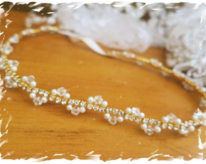 Gold Rhinestone Thin Belt Pearl Crystal Beaded Bridal Sash