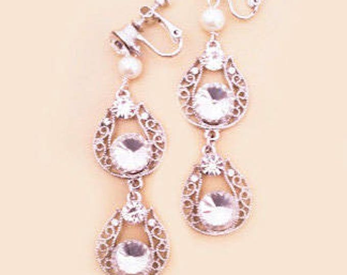 Bridal Rhinestone Clip On Earrings MABEL