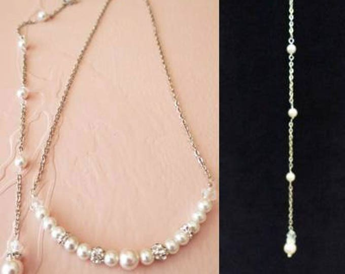 Bridal Pearl Back Necklace