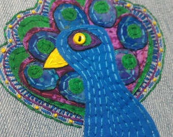 Peacock Hoop Art, Peacock, Peacock Applique,Embroidered Hoop Art,Peacock Patch, Peacock Lover Gift, Bird Art,Bird Lover,Hoop Art,Peacock Art