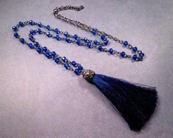 Blue Tassel Necklace, Glass Beaded Chain, Pave Rhinestone Cap, Gunmetal Silver Necklace, FREE Shipping U.S.
