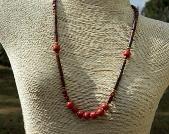 Crow Bead and Brecciated Jasper Gemstone Necklace