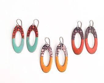 Oval Enamel Earrings-Choose a color!