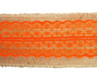 "DESTASH - 2.5"" Burlap Ribbon with Orange Lace - 1 pack (6 rolls - 2 yards per roll)"