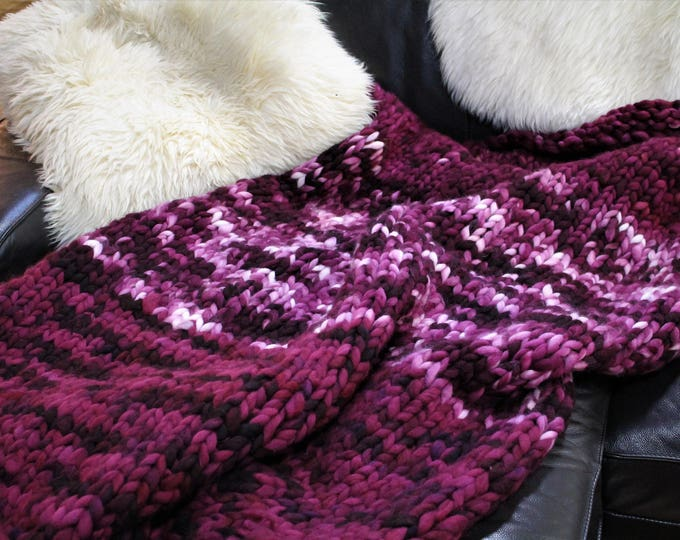 Huge Chunky Knit Cozy Blanket. Merino Wool. One of a Kind.  Super Soft. Super Warm.