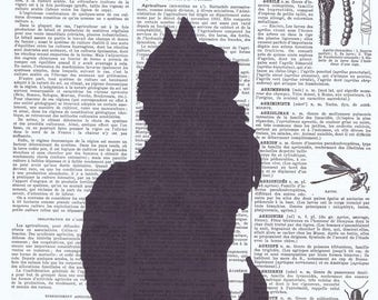 Cat,Kitty.Silhouette,Feline,Vintage Book Page Print,upcycled,gift,home deco.antique,french,buy 3 get 1 FREE,pet.child.mom.eco.black cat.sis