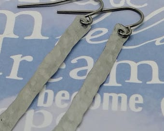 Hammered Aluminum Twig Earrings With Surgical Steel Ear Wires, Shiny Aluminum Dangle Earrings, Women's Casual Jewelry, Minimalist Jewelry