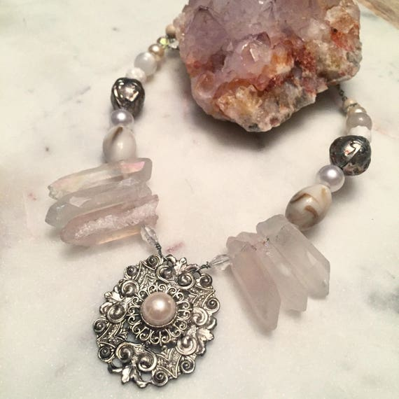 Norah Necklace Silver and Pearl Mixed Media Crystal and Stone Statement Necklace