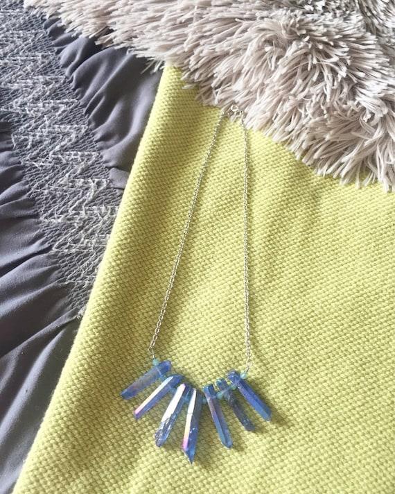 Sandra Necklace Blue Aura Crystal Statement Necklace