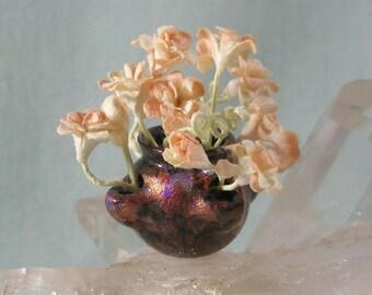Dollhouse Miniature Raku Style Strawberry Pot with Peachy flowers  in 1:12 Dollhouse Scale