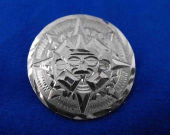 Vintage Brooch, Sterling Silver, Signed, Mexican or Aztec Design, Guadalajara, ca 1960-70