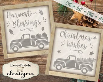 Christmas svg - Harvest svg - old truck pumpkins svg - old truck christmas svg - fall christmas bundle - Commercial use svg, dxf, png, jpg