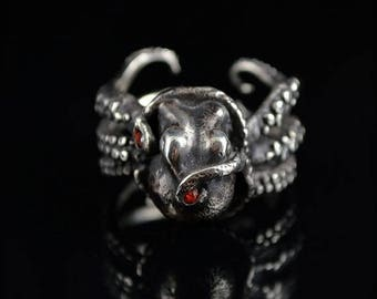 SALE SALE -Kraken 8 with Sapphires, Octopus Ring, Tentacle Jewelry, Custom sterling silver Jewellery