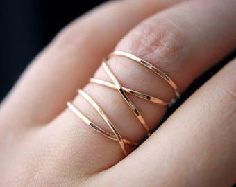 SOLID Rose Gold Extra Large Wrap ring, 14k rose gold wraparound ring, wrapped rose gold ring, rose gold cocktail ring, gold wrap around ring