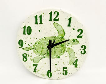 Wall Clock. Sea Turtle.  Turtle. Home Decor. Kitchen. Housewarming. Bedroom. Handmade By Sara Hunter