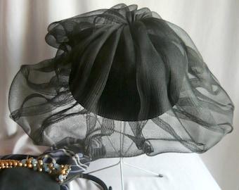Vintage Wide Brim Hat / Sheer Black Cocktail Horsehair Braid / PILLBOX with a SHADOW / Lee Bury of Dallas 1960s USA