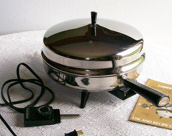 Vintage Electric Stainless Steel Fry Pan Farberware 12 Inch Frying Skillet with Lid circa 1984