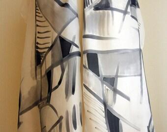 Hand Painted Silk Scarf. Braque style silk scarf. Hand Painted Silk Shawl. 71x18 in. Wedding Gift. Ooak scarf.
