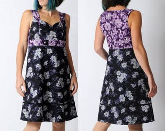Black floral dress, grey and purple floral dress with empire waist, Black womens dress, Floral cotton dress, Sleeveless cotton dress, MALAM