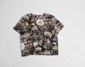 botanical floral blouse | dark floral tee | boxy floral blouse