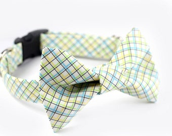 Tartan Bowtie Dog Collar, Personalized Bowtie collar option - Wedding Collar - Aberdeen Plaid