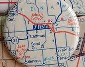 Adrian Michigan magnet, pure Michigan, mitten state, vintage map magnet