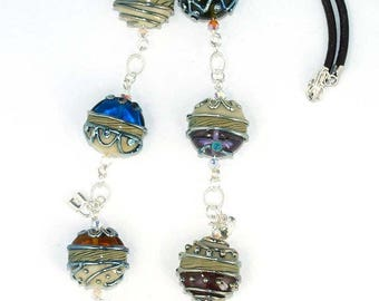 Pearly necklace Lampwork  Romantic Silver Stones (7) with sterling silver 925
