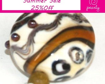 Brown, ivory, gold lampwork beads set of 6 lampwork beads SRA made by pearly karpel MTO, glass beads lampwork glass beads ,jewelry supplies