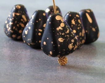 NEW Matte Jet Black Antique Gold Drop 12x10mm Teardrop Beads : 6 pc Chunky Old Style Drops