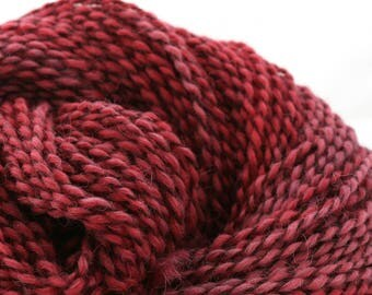 Middlefield Hand Dyed aran weight wool alpaca blend 200 yds 4oz Raspberry Beret