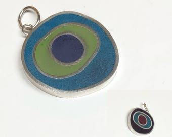 Funky Reversible Concentric Circles Pendant Slide Sterling Silver and Colored Resin Blue Purple Red