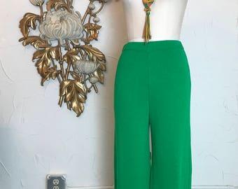 1980s pants St. John pants knit pants wide leg pants vintage pants green pants 27 waist sweater pants palazzo pants