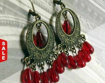 Chandelier Earrings, Red Chandelier Earrings, Chandelier Earrings