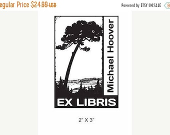 Xmas in July Dramatic Lone Pine Tree Personalized Ex Libris Rubber Stamp E11