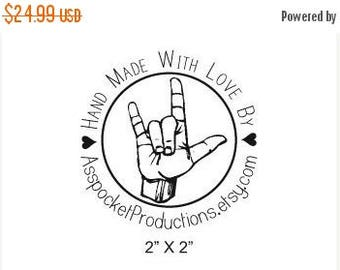 Xmas in July Custom Round Rubber Stamp Hand Made With Love ASL Hand Sign Rubber Stamp B25