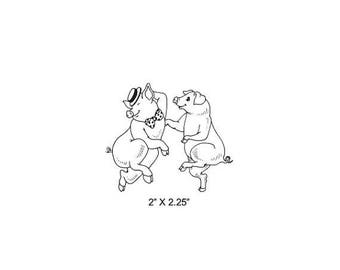 Xmas in July Dancing Pigs Rubber Stamp 485