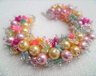 Floral Pastel Bracelet, Bridesmaid Jewelry, Beaded Bracelet, Pastel Wedding, Pink Pearls, Cluster Bracelet, Pearl Bracelet, Pearl Jewelry