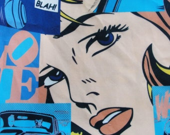 Pop art Cartoon printed Cotton fabric  DOUBLE width!