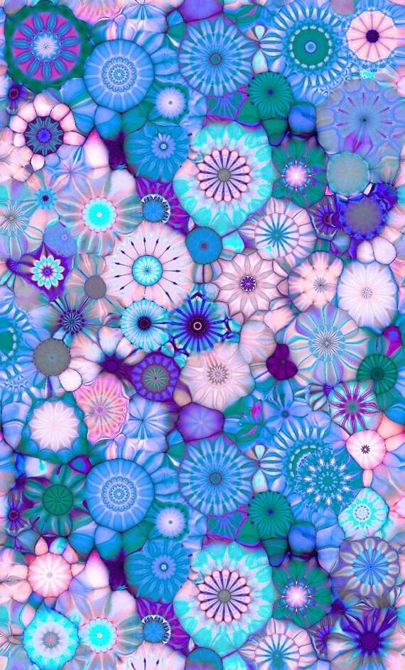 Artist Handmade Cotton Fabric Fiber Art By The Yard Blue Flower Abstract Kaleidoscope Quilting Craft