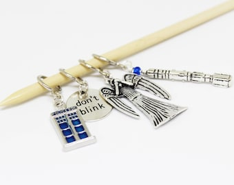 Doctor Who - Weeping Angel Stitch Markers with TARDIS & Sonic Screwdriver