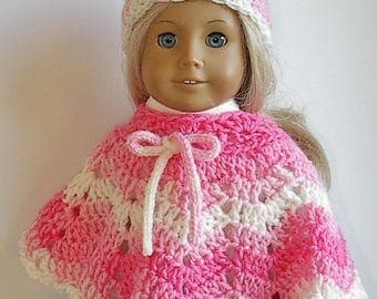 "18 Inch Doll Crocheted Poncho Set in PInk and White Stripes handmade to fit the American Girl and other 18"" Dolls"