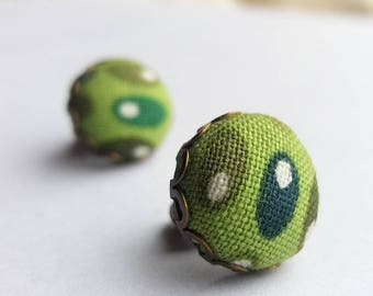 Green Dots - Fabric Covered Button Stud Earrings.