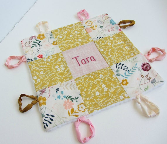 Baby Lovey Girl Blanket with Custom Hand Embroidery Name Or Initial ~ Choice of Backing Fabric ~ Wildflower Boho Girl ~ Mustard Beige Blush