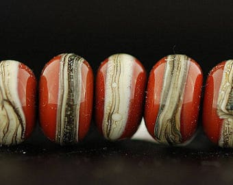 Coral and Ivory Lampwork Beads - Bead set by Lara