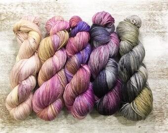 5 Hand Dyed Yarn - Fingering Sock Yarn - Rosemeade - fade collection kit