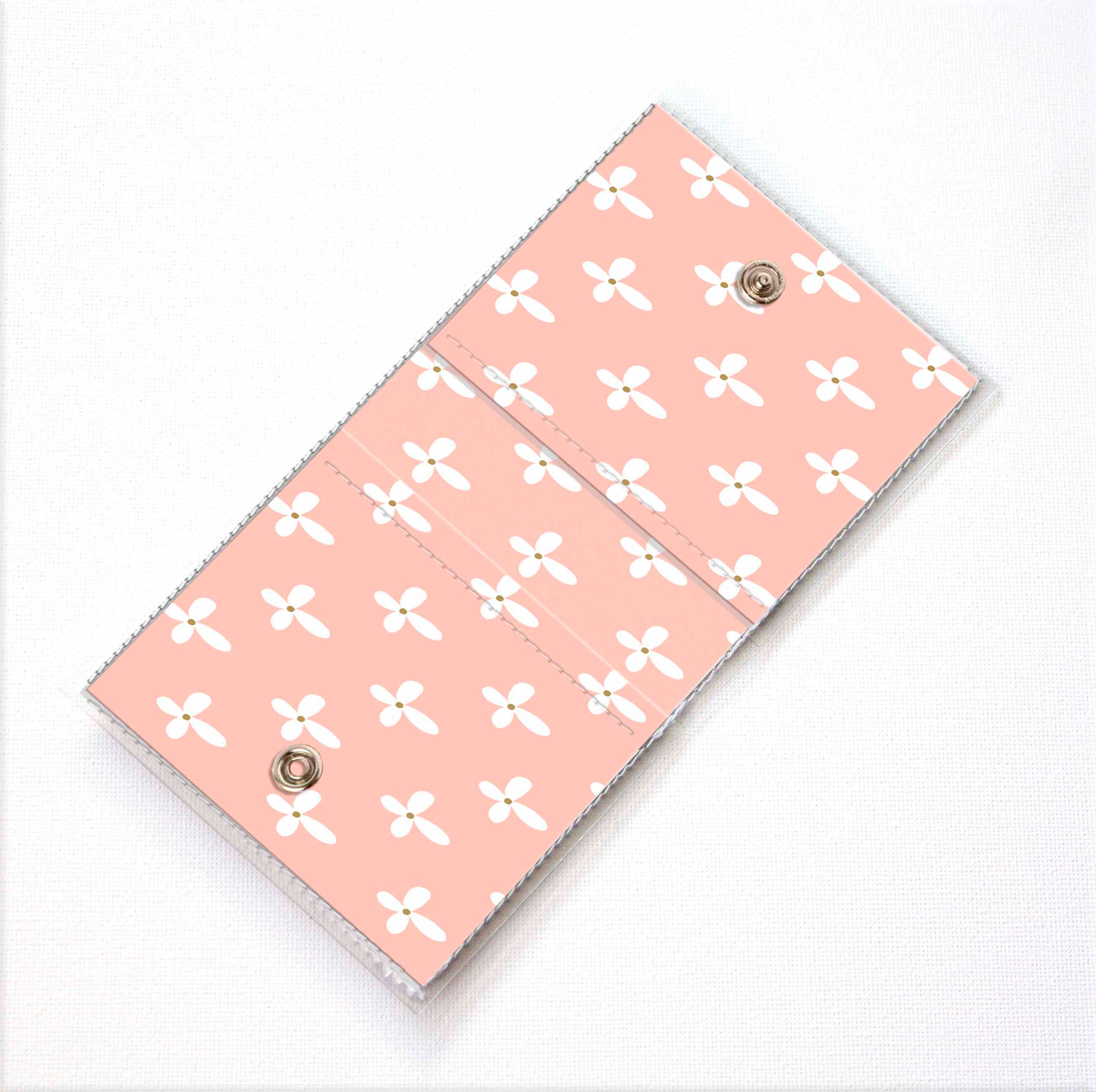 handmade vinyl moo square card holder botanical blue case