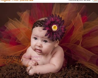 SUMMER SALE 20% OFF Thanksgiving Tutu - Autumn Glow - Red Gold WineTutu - Custom Sewn Tutu 8'' - sizes Newborn up to 5T