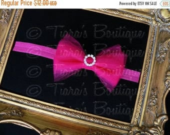 SUMMER SALE 20% OFF Fuchsia Bow Headband with Rhinestones - Hot Pink Headband for Girls, Babies, Women - Newborn Photo Prop