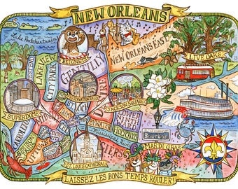 "Map of New Orleans Louisiana Art Print 8""x10"""